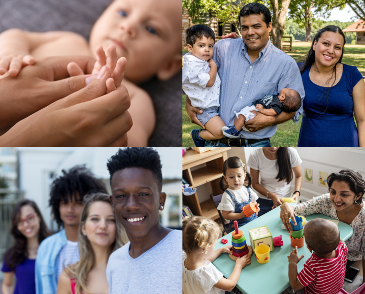 A tapestry of images, including an infant, a group of children in preschool, adolescents, and a family.
