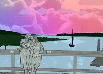Illustration of The Kiss statue by Rich Beyer of a couple kissing on the boardwalk of Percival Landing, in front of an orange and purple sunset.