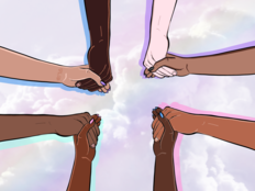 We are One. Illustration of eight outstretched arms, of varying skin tones, uniting from the corners of the frame to clasp hands in solidarity.