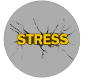 Image displaying cracks behind the word stress.