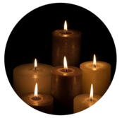 In memory and honor of falling drivers. Image of candles