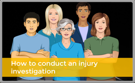 Image of group with text on how to conduct an injury investigation.
