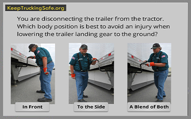 Image of truck driver using the landing gear.