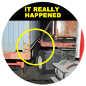 image of trailer and truck being really close together showing where the drivers got pinned and killed.