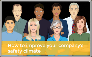 Image of diverse group with the text how to improve your company's safety climate