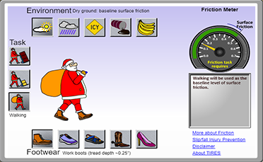 Image of diver in santa outfit in a fall, trip and slip simulation