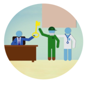 Image of silhouette sitting on a desk handig a key to a worker silhouette with a doctor silhouette next to him.