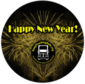"Image of TIRES logo in center with fireworks behind the logo with the text on above, ""Happy new year!"""