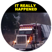 Image of truck with tarp driving in bad weather.