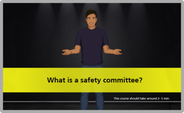 "Image of truck driver with arms open and a title ""What is a safety committee?"""
