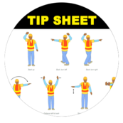 Image of title Tip Sheet and clipart of drivers doing hand signals.