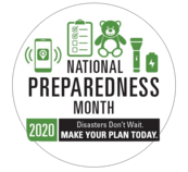 """Image of items and title """" National Preradeness Month"""""""