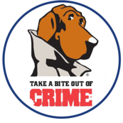 Image of  of dog with a coat that looks like a detective witht the title ' Take a gite out of Crime'