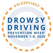 Image of icon with text: #Sleepfirst Dowsy Driving Prevention Week November 1-8, 2020