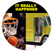 Image of a basketball going through a hoop next to an image of a van with three red numbers.