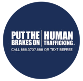 """Image of title """"Put the brakes on human trafficking call 888.3737.888 or text  BEFREE"""""""