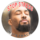 "Image of person with his eyes close looking up witht the text: ""Stop Stress in its Tracks"""