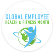 """Image of human silhouette in front of a globe with the text """"Global Employee Health & Fitness Month"""" above it."""