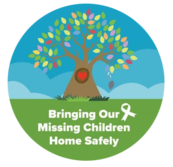 """Image of colorful tree clip art with a heart in the middle with the text """"Bring Our Missing Children Home Safely""""."""