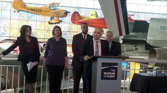 Brian Bonlender speaks at the Museum of Flight