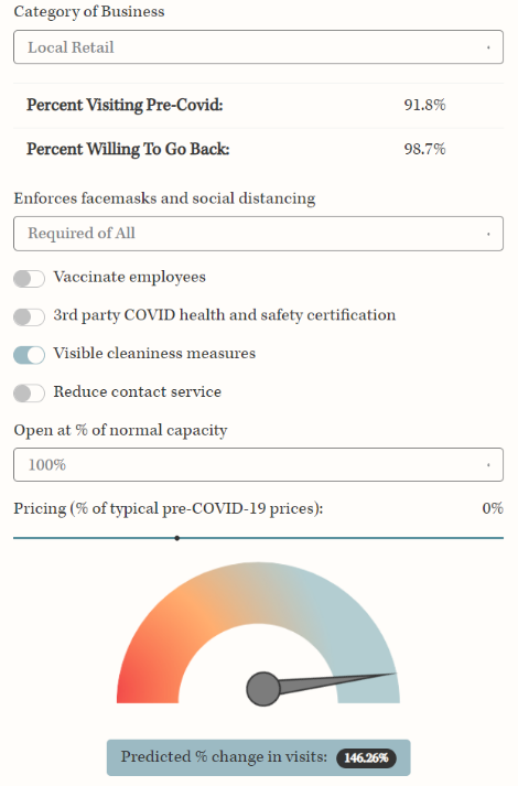 Screen capture of safe start app dashboard