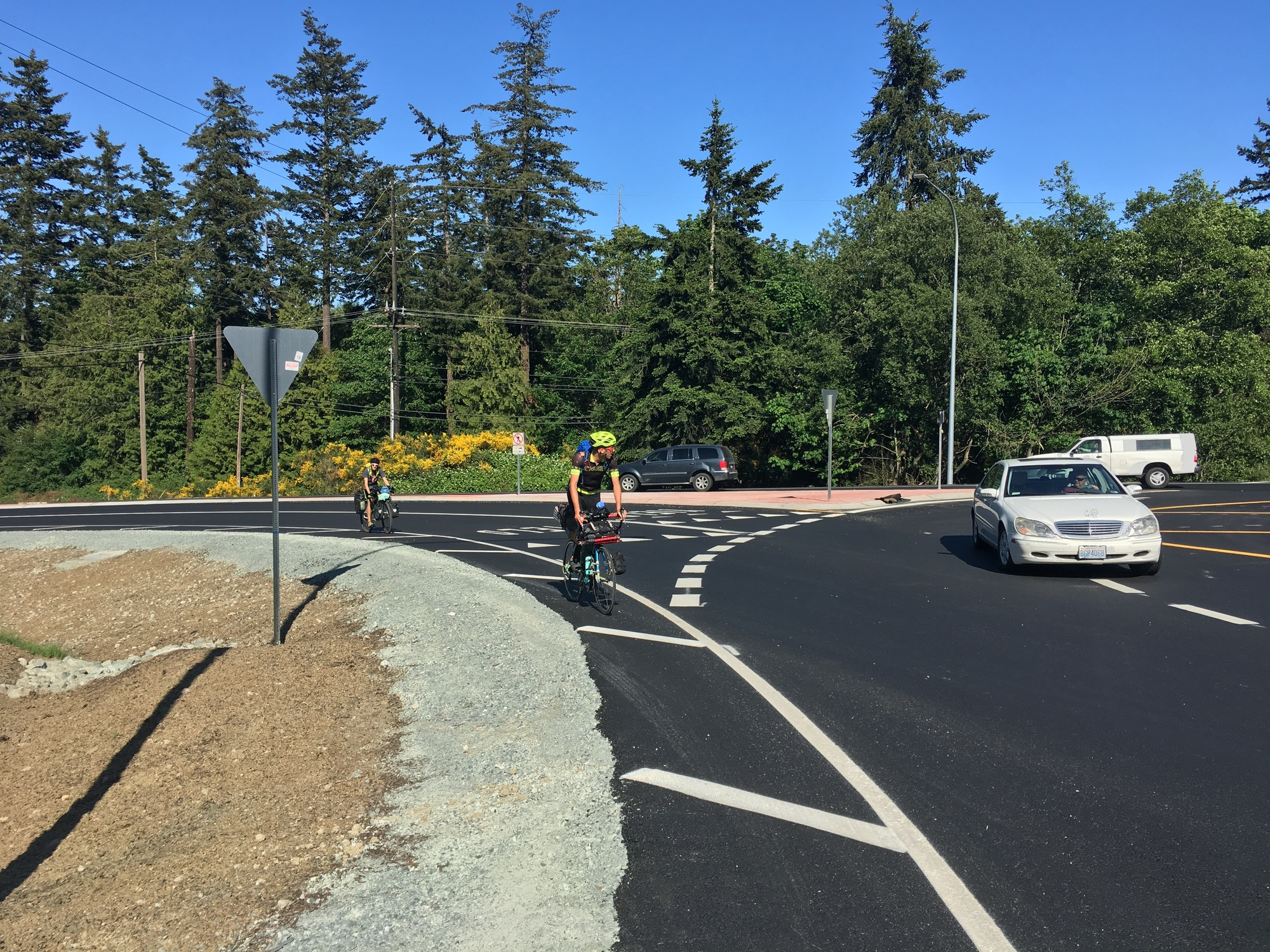 Cyclists use the SR 20 and Miller/Gibralter roads roundabout in Skagit County