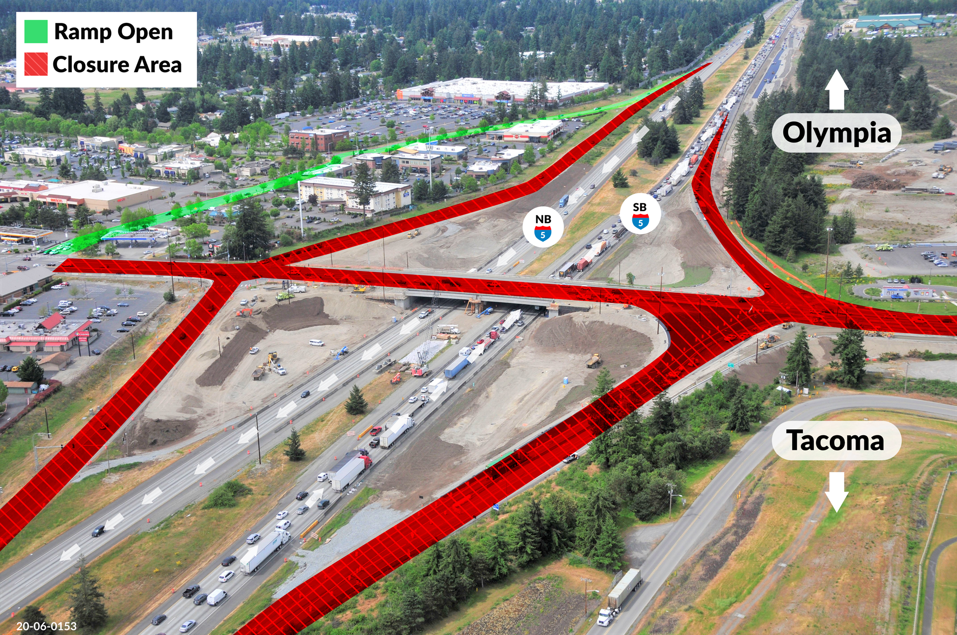 Overhead view of Marvin Road interchange with Tacoma to the left and Olympia to the right. Red lines show the overpass is closed for the weekend.