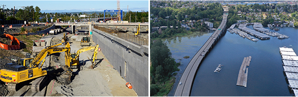 On the left, a construction work zone in a closed highway with a cement wall on the right. On the right, an aerial view of a bridge over water.