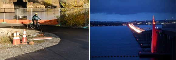 Left, a cyclist rides on a trail under a bridge. On the right, the S R 520 floating bridge sentinels shine red at night over Lake Washington.