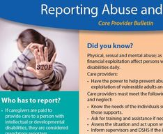 "Reporting Abuse and Neglect Care Provider Bulletin - woman holding hand up with ""stop"" written on it"