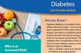Diabetes care provider bulletin with image of fruit, blood sugar monitor, and text