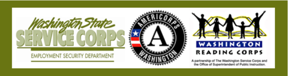 Logos for WA Service Corps, WA Reading Corps, AmeriCorps