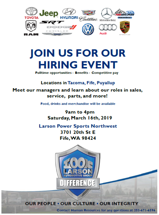 Look Larson hiring event flyer