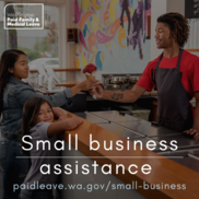 Image depicts an employee in an ice cream shop helping a customer and the text Small Business Assistance