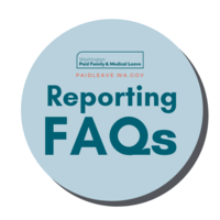 Image depicts a circle and the words Reporting FAQs