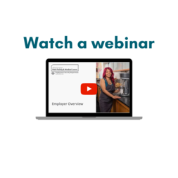 "Image depicts a laptop and the words ""Watch a webinar"""