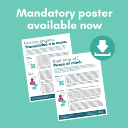 "Image depicts posters and the words ""Mandatory poster available now"""