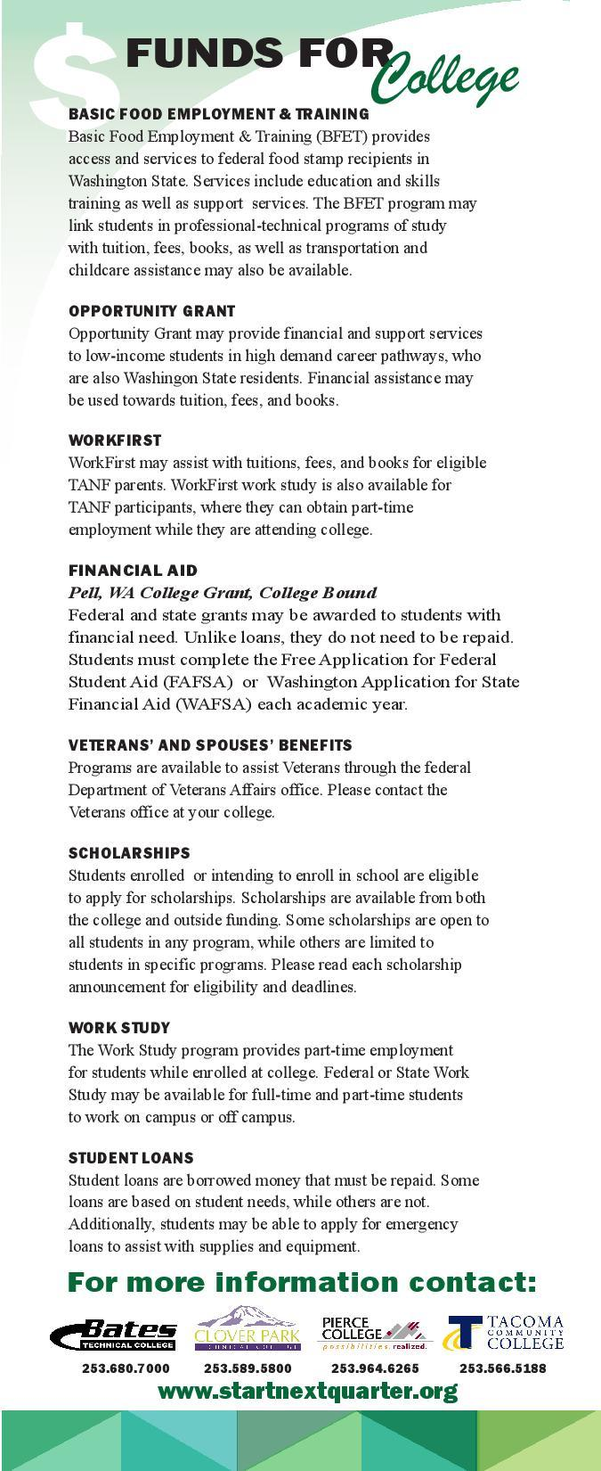 Funds for College flyer