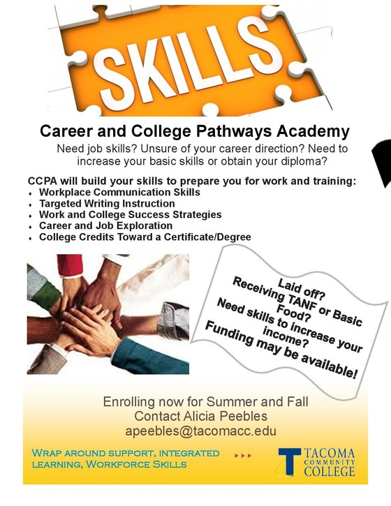 Tacoma Community College Career Pathways flyer