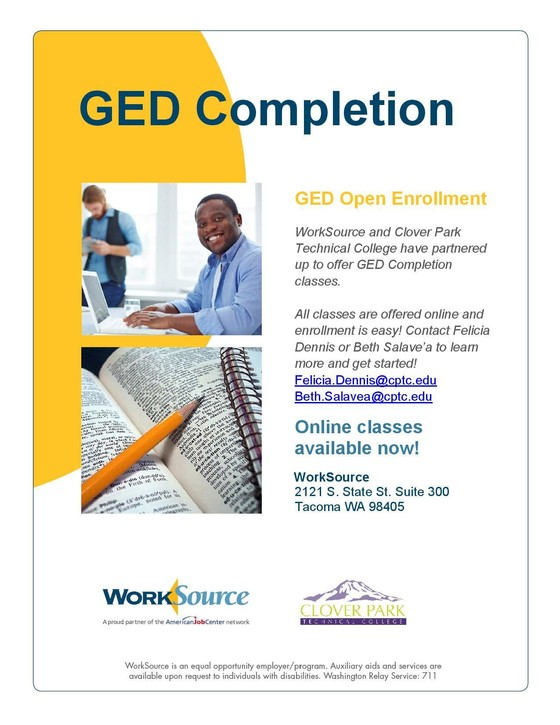 GED Completion classes flyer