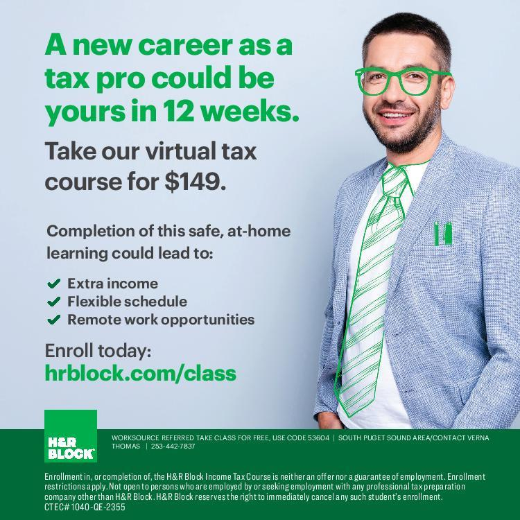 H&R Block Virtual Tax Course flyer