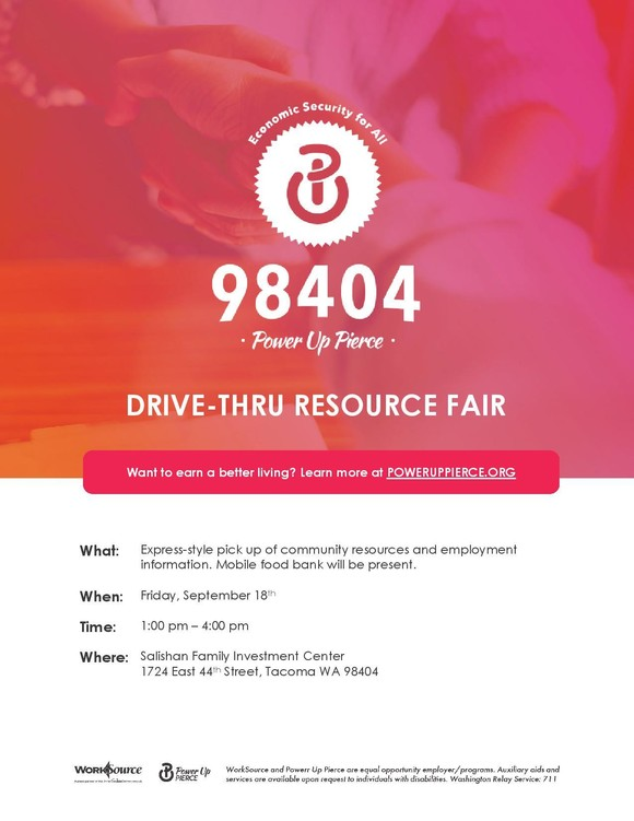 Power Up Pierce Drive-thru Resource Fair flyer