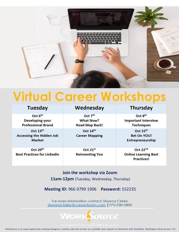 Virtual Career Workshops schedule for October