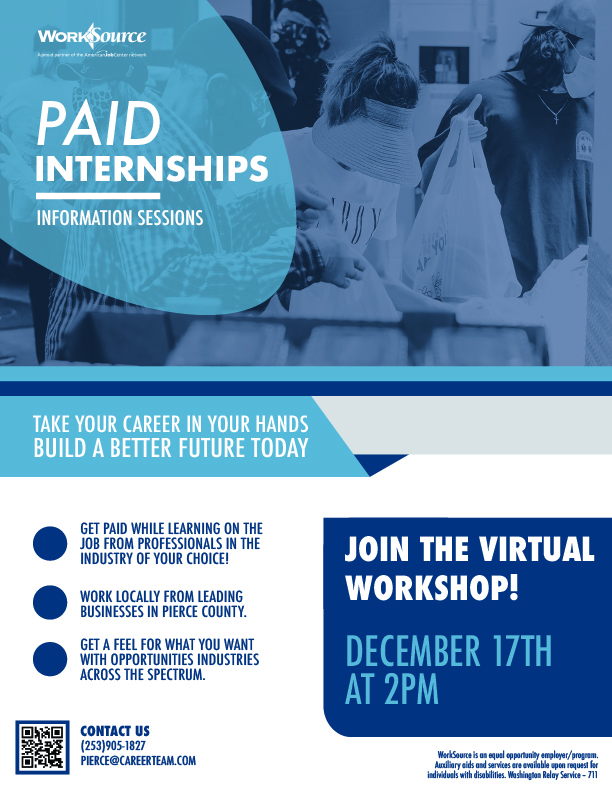 Paid Internship Information Session flyer
