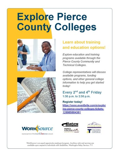 Exploring Pierce County Colleges workshop flyer