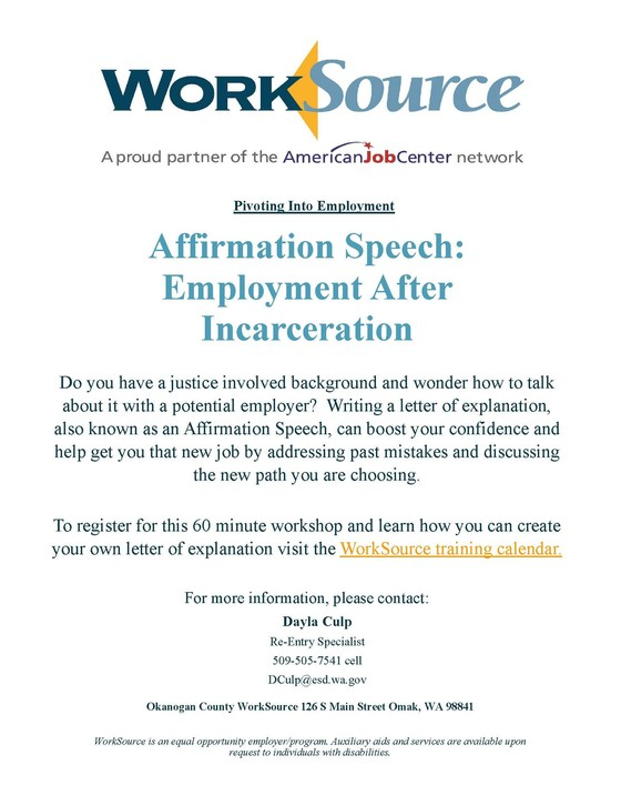Affirmation Speech Workshop flyer