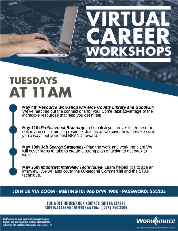 Virtual Career Workshop flyer - May 2021