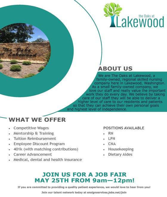 The Folks at Lakewood Job Fair flyer