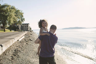 Father and child near Puget Sound