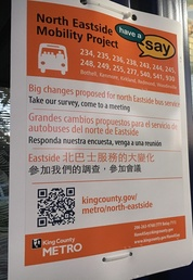 project sign posted at Metro bus stop